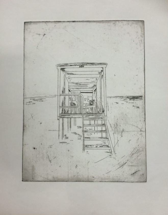 A Lonely Beach Hut, 2014, Etching, Edition of 5, 21x29cm (Plate size 12x13cm). Sold 3 of 5.