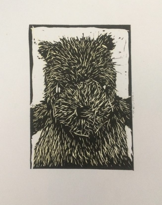 A Bear's Story 1, 2015, Linocut, Varied Edition of 20, 10x15cm (Print 5.5x7cm).  Sold 16 of 20.
