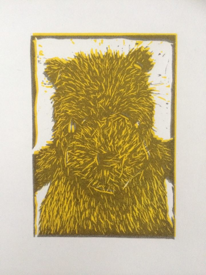 A Bear's Story 3, 2015, Linocut, Varied Edition of 20, 10x15cm (Print 5.5x7cm).  Sold 16 of 20.