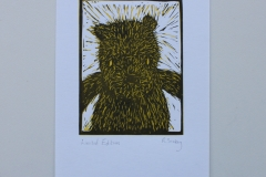 A Bear's Story, 2015, Linocut, Varied Edition of 20, 10x15cm (Print 5.5x7cm). Sold 16 of 20.