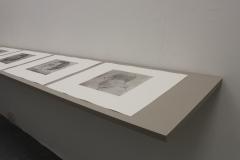 Quiet Exchanges Series (close up 1), 2018, 5 prints, Etchings, 3m shelf. University of Brighton Graduate Show 2018.