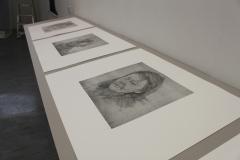 Quiet Exchanges Series (close up 2), 2018, 5 prints, Etchings, 3m shelf. University of Brighton Graduate Show 2018.