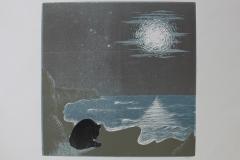 Quiet Thoughts 4, 2017, Reduction Linocut, 40x40cm