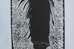 Working Hard, 2017, Woodcut, 40x55cm
